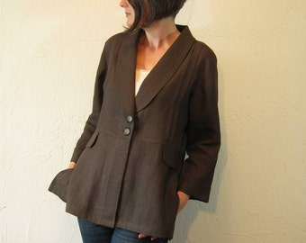 Linen Jacket with Shawl Collar - Chocolate Brown with Pintucks