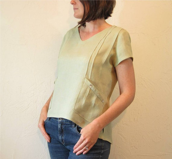 Linen Blouse - Fog Green with Pintucks and Shell Buttons