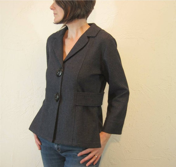 Navy and Black Big Button Jacket