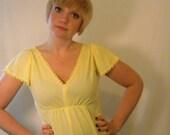 Vintage 1970s Maxi Dress // Pastel Yellow Vintage Dress // Goddess Dress // 70s Long Dress // Hippie Boho Dress // Womens Halloween Costume