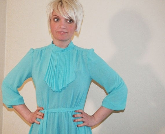 Vintage Secretary Dress 1970s Turquoise and Ruffle Ascot Day Dress
