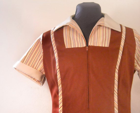 RESERVED 70s Waitress Dress Vintage Work Fashion Brown Striped Uniform House Dress