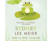 Custom Birth Print-Frog-8x10