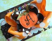 Fall Thanksgiving Pumpkin Monogrammed Initial Boutique Style Hair Bow Orange Brown Polka Dot