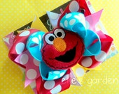 M2M Elmo Boutique Style Birthday Hair Bow Red Yellow Green Pink Lavender Turquoise