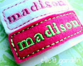 Personalized Embroidered Name Felt Clip Barrette Set of  Three Same Name Only You Choose the Color
