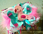 Pink Flamingo Boutique Style  Hair Bow Pink Aqua Pink Marabou Feathers