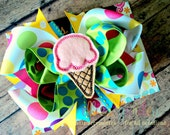 Ice Cream Cone Boutique Style Hair Bow Pink Green Turquoise Multi Colored Polka Dots Yellow