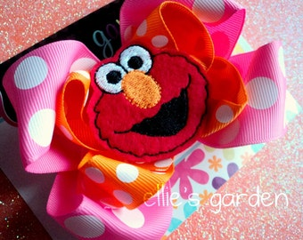 M2M Elmo Birthday Boutique Style  Bow Pink Orange