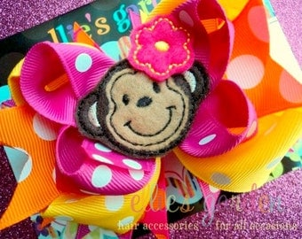 Monkey Layered Boutique Style Hair Bow Pink Orange Yellow
