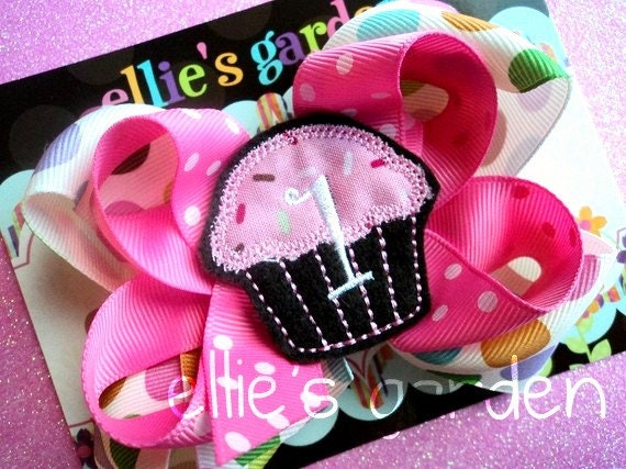 Birthday Embroidered Cupcake Monogrammed Boutique Style Hair Bow Multi Colors Pink