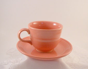Vintage Fiesta Rose Pink Cup and Saucer