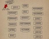 Stamped Dates  - Digital Scrapbooking elements for dates, journaling, labeling INSTANT DOWNLOAD