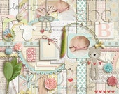 I'll Love You Forever (kit) - Digital Scrapbooking for Baby, Announcments, Card  INSTANT DOWNLOAD