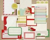 Kitschy Christmas: Journaling Blocks - Digital Scrapbook Elements INSTANT DOWNLOAD