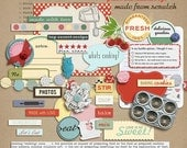 Kitschy Kitchen Mixed Media - Digital Scrapbooking elements INSTANT DOWNLOAD