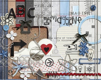 Innovation  - Digital Scrapbooking kit for science project, Epcot, Inventions INSTANT DOWNLOAD