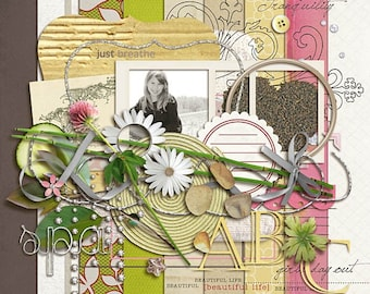 Rejuvenate - Digital Scrapbooking kit for Beach, Spa, Girls Day Out, Relaxation INSTANT DOWNLOAD