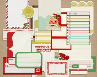 Kitschy Christmas: Journaling Blocks - Digital Scrapbook Elements INSTANT DOWNLOAD