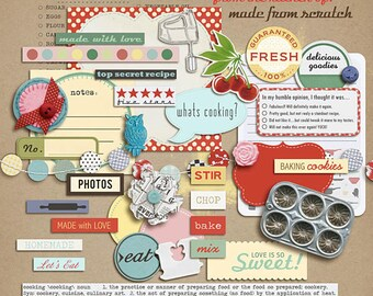 Kitschy Kitchen Mixed Media - Digital Scrapbooking elements INSTANT DOWNLOAD