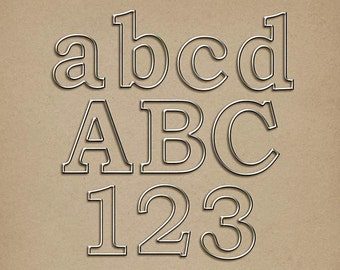 Wire-Rimmed Metal Alpha - Digital Scrapbooking Alphabet INSTANT DOWNLOAD