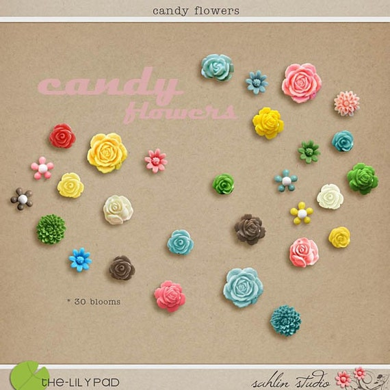 Candy Flowers Digital Scrapbooking element pack INSTANT DOWNLOAD