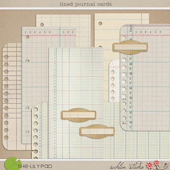 Lined Journal Cards - Digital Scrapbooking Element Papers  INSTANT DOWNLOAD