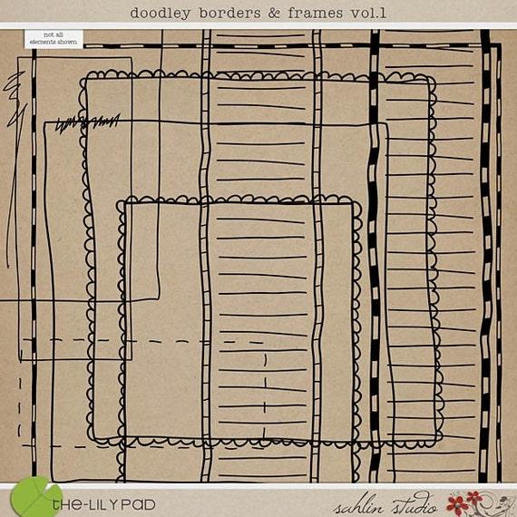 Doodley Borders 'n' Frames - Digital Scrapbooking Elements INSTANT DOWNLOAD