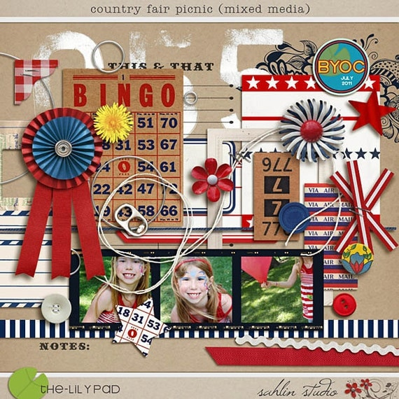 country fair picnic (mixed media) - Digital Scrapbooking for July 4th, Patriotic INSTANT DOWNLOAD