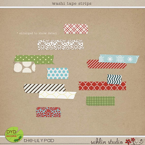 Washi Tape Strips - Digital Scrapbooking Elements for Christmas, Holiday, Winter INSTANT DOWNLOAD