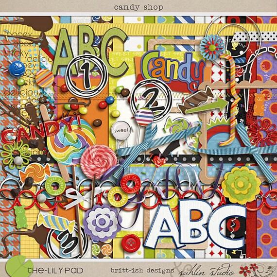 Candy Shop - Digital Scrapbooking kit for birthdays, fair, carnival, festivals, candy, disney INSTANT DOWNLOAD
