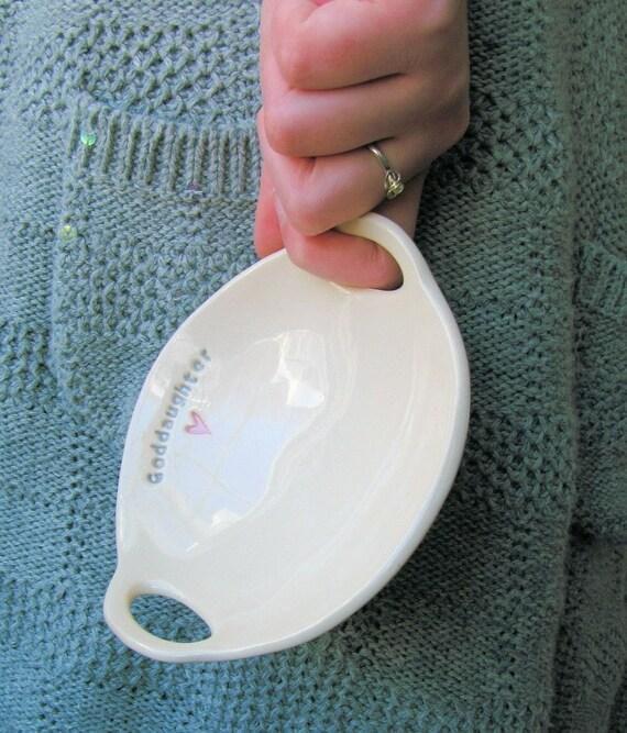 GODDAUGHTER gift, Gift for Goddaughter,  Belief Bowl(TM) - an original design by Clarey Clayworks great baptism gift