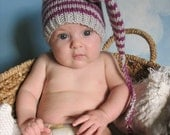 Newborn Striped Elf, Pixie Handknitted Hat in Light Gray and Hyacinth, Cute Baby Gift or Photo Prop