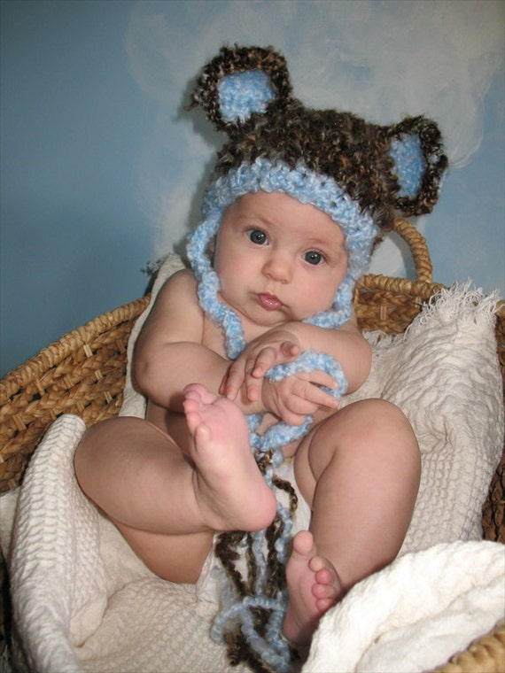 Boo Boo Bear Handknit Beanie Hat in a Rocky Mountain Color with Sky Blue Trim and Ears, Size Newborn, Photo Prop