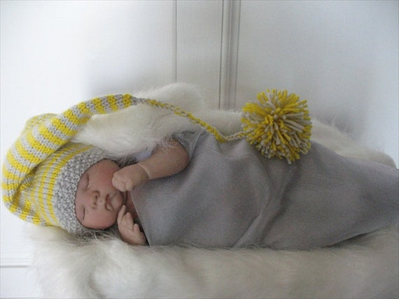 Elf, Pixie, Hand Knit Striped Hat in Light Gray and Bright Yellow with Crochet Tassel and Large Pom Pom, Size Newborn, Baby Boy Photo Prop