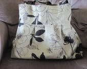 Pleated Brooke Bag in Dark Olive Green with Black flowers