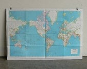 """RESERVED-Vintage Map-The World-(Large Map 38"""" x 25"""")"""