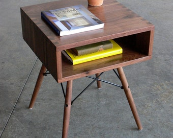 Mid Century Modern Inspired Walnut Box Joint Side Table w/ Dowel Legs