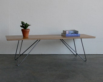 Modern Walnut Plywood w/ Wire Rod Legs Surfboard Coffee Table