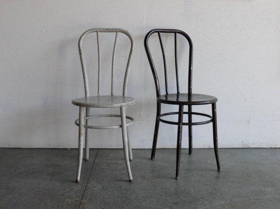 Vintage Industrial Metal Cafe Chairs (Set of 2)