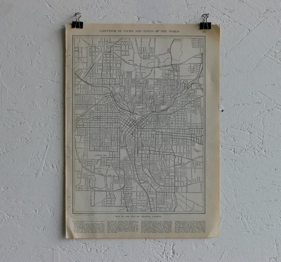 Vintage Map-City of Atlanta-Early 20th Century