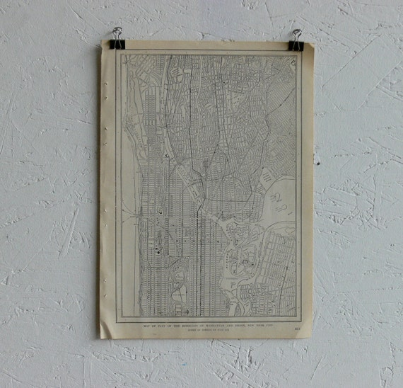Vintage Map-City of New York (Upper Manhattan)-Early 20th Century
