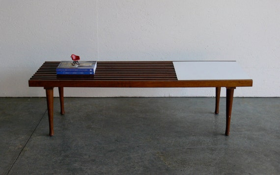 RESERVED-Vintage Mid Century Modern Slat Bench/Coffee Table
