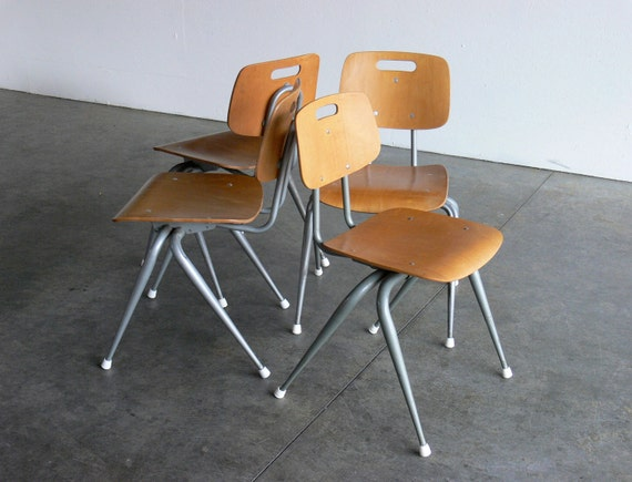 Vintage Industrial/Mid Century Modern Plywood Side Chairs (Set of 4, Adult Sized)