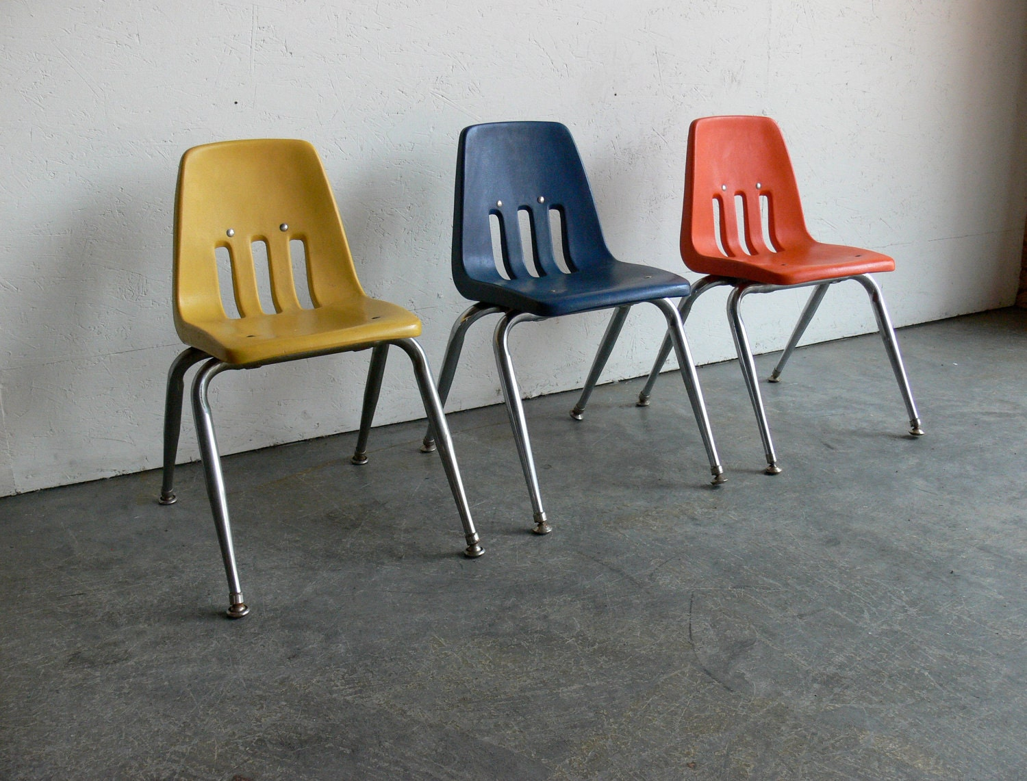 RESERVED Vintage Children School Chairs Set Of 3