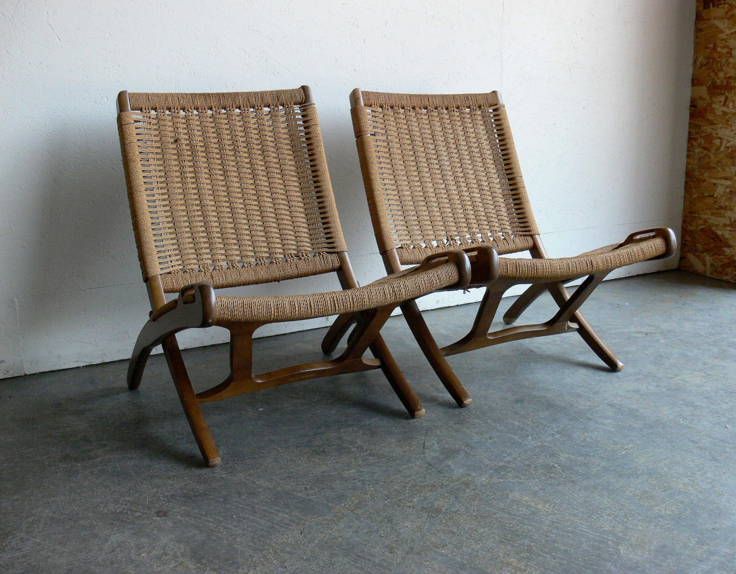 Danish Hans Wegner Style Rope Folding Chairs Set Of 2