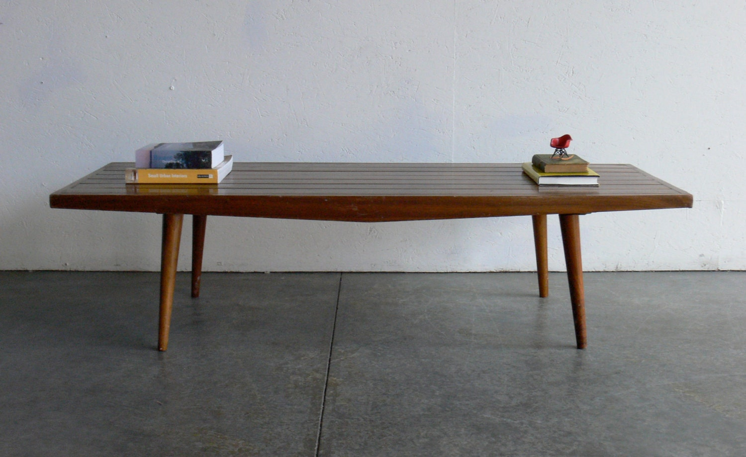 Vintage mid century modern coffee table bench for Mid century modern coffee table