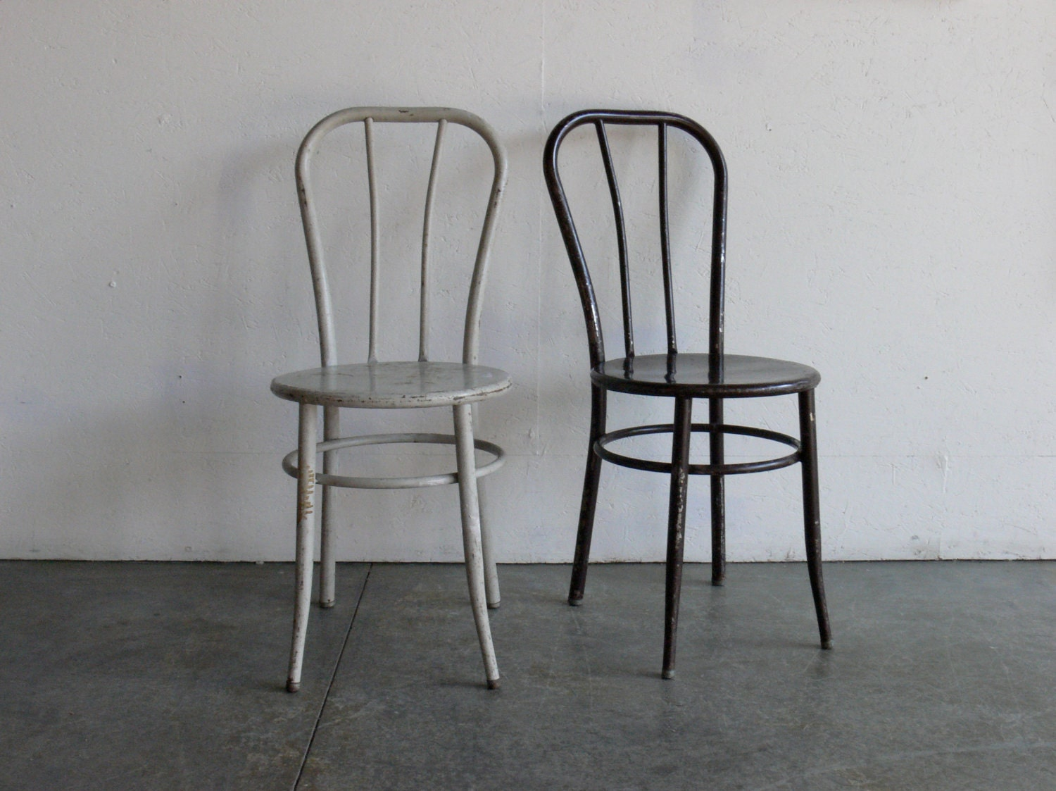 Vintage Industrial Metal Cafe Chairs Set Of 2