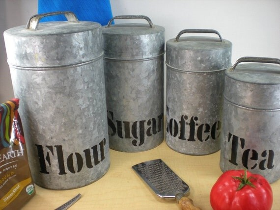 galavanized kitchen canister set country cottage by