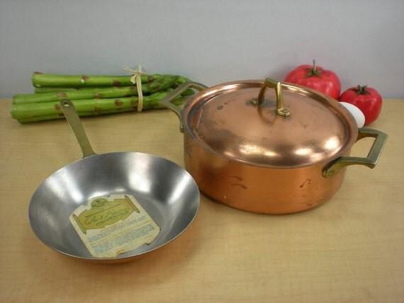 Paul Revere Signature Copper Brass Stainless Fry Pan Sauce Pot